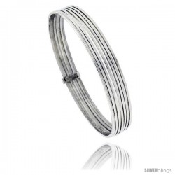 Sterling Silver square wire Seminaries Bangle Bracelet 3/8) in wide, 7 1/4