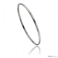 Sterling Silver Plain Flat High Polish Slip-on Bangle Bracelet 1/8 in wide, 8