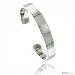 Sterling Silver Flat Cuff Bangle Bracelet 3/8 in wide