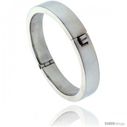 Sterling Silver Round Hinged Flat Bangle Bracelet 1/2 in wide