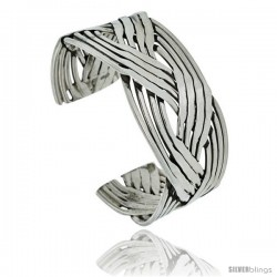 Sterling Silver 12 row Braided Wire Cuff Bangle Bracelet 1 in wide