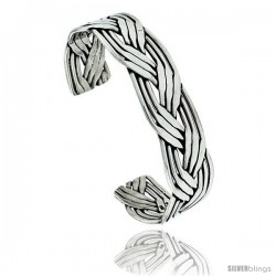 Sterling Silver 9 row Braided Wire Cuff Bangle Bracelet 11/16 in wide