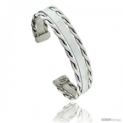 Sterling Silver Flat Wire Cuff Bangle Bracelet with Rope Edges 9/16 in wide