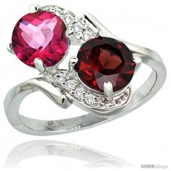 14k White Gold ( 7 mm ) Double Stone Engagement Pink Topaz & Garnet Ring w/ 0.05 Carat Brilliant Cut Diamonds & 2.34 Carats