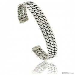 Sterling Silver 3-row Celtic Braid Wire Cuff Bangle Bracelet 3/8 in wide, -Style Xb562