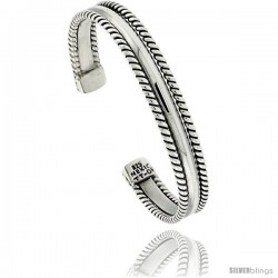 Sterling Silver 3-row Rope Wire Cuff Bangle Bracelet 3/8 in wide
