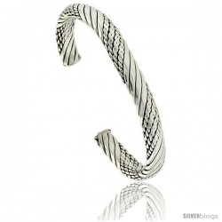 Sterling Silver Braided Rope Wire Cuff Bangle Bracelet 5/16 in wide