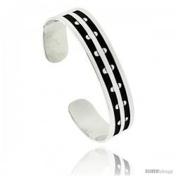 Sterling Silver Hopi Small semi circle Design Flat Cuff Bangle Bracelet 9/16 in wide