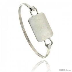 Sterling Silver ID Bangle Bracelet Square Disk 3/4 in wide