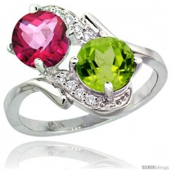 14k White Gold ( 7 mm ) Double Stone Engagement Pink Topaz & Peridot Ring w/ 0.05 Carat Brilliant Cut Diamonds & 2.34 Carats