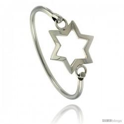 Sterling Silver Star of David Wire Bangle Bracelet 1 3/16 in wide