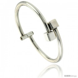 Sterling Silver Tubular Wire Hinged Bangle Bracelet with Cube Ends 1/2 in wide