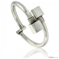 Sterling Silver Tubular Wire Hinged Bangle Bracelet with Large Cube Ends 14 mm 9/16 in wide