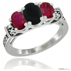 14K White Gold Natural Black Onyx & Ruby Ring 3-Stone Oval with Diamond Accent