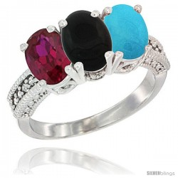 14K White Gold Natural Ruby, Black Onyx & Turquoise Ring 3-Stone Oval 7x5 mm Diamond Accent