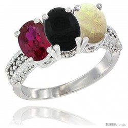 14K White Gold Natural Ruby, Black Onyx & Opal Ring 3-Stone Oval 7x5 mm Diamond Accent