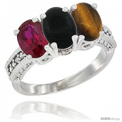 14K White Gold Natural Ruby, Black Onyx & Tiger Eye Ring 3-Stone Oval 7x5 mm Diamond Accent
