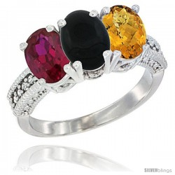 14K White Gold Natural Ruby, Black Onyx & Whisky Quartz Ring 3-Stone Oval 7x5 mm Diamond Accent