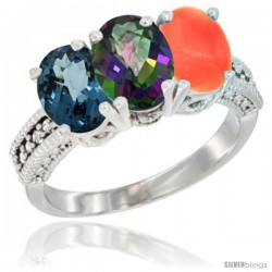 14K White Gold Natural London Blue Topaz, Mystic Topaz & Coral Ring 3-Stone 7x5 mm Oval Diamond Accent