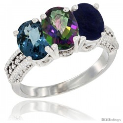 14K White Gold Natural London Blue Topaz, Mystic Topaz & Lapis Ring 3-Stone 7x5 mm Oval Diamond Accent