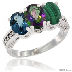 14K White Gold Natural London Blue Topaz, Mystic Topaz & Malachite Ring 3-Stone 7x5 mm Oval Diamond Accent