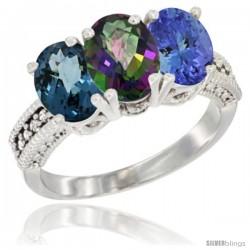14K White Gold Natural London Blue Topaz, Mystic Topaz & Tanzanite Ring 3-Stone 7x5 mm Oval Diamond Accent