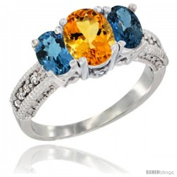 14k White Gold Ladies Oval Natural Citrine 3-Stone Ring with London Blue Topaz Sides Diamond Accent