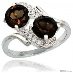 14k White Gold ( 7 mm ) Double Stone Engagement Smoky Topaz Ring w/ 0.05 Carat Brilliant Cut Diamonds & 2.34 Carats Round