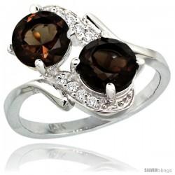 14k White Gold ( 7 mm ) Double Stone Engagement Smoky Topaz Ring w/ 0.05 Carat Brilliant Cut Diamonds & 2.34 Carats Round