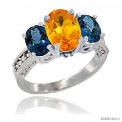 14K White Gold Ladies 3-Stone Oval Natural Citrine Ring with London Blue Topaz Sides Diamond Accent