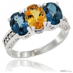 14K White Gold Natural Citrine & London Blue Topaz Sides Ring 3-Stone 7x5 mm Oval Diamond Accent