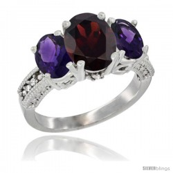 10K White Gold Ladies Natural Garnet Oval 3 Stone Ring with Amethyst Sides Diamond Accent