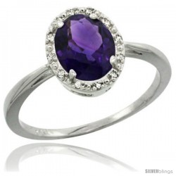 10k White Gold Amethyst Diamond Halo Ring 1.17 Carat 8X6 mm Oval Shape, 1/2 in wide