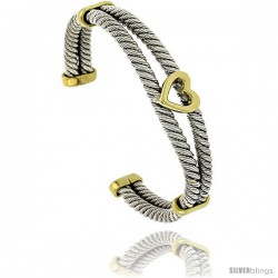 Sterling Silver & Brass Two Tone Double Cable Cuff Bangle Bracelet with Heart Center 1/2 in wide