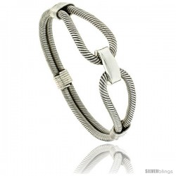 Sterling Silver Wire Wrapped Double Cable Bangle Bracelet with Tension Clasp 5/8 in wide