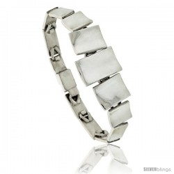 Sterling Silver Concaved Linked Bar Bracelet 3/4 in wide