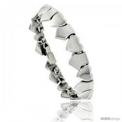 Sterling Silver Heart and Shield Bracelet 1/2 in wide