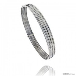 Sterling Silver Flat 7 Band Stackable slip on Semanario Bangle 5/16 in wide, 9 in