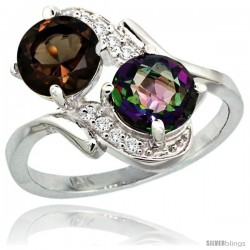 14k White Gold ( 7 mm ) Double Stone Engagement Smoky & Mystic Topaz Ring w/ 0.05 Carat Brilliant Cut Diamonds & 2.34 Carats