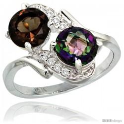 14k White Gold ( 7 mm ) Double Stone Engagement Smoky & Mystic Topaz Ring w/ 0.05 Carat Brilliant Cut Diamonds & 2.34 Carats