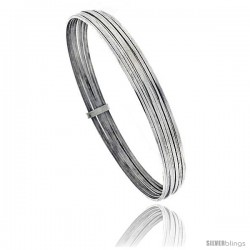 Sterling Silver Flat 7 Band Stackable slip on Semanario Bangle 5/16 in wide, 8 in