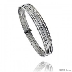 Sterling Silver Flat 7 Band Stackable slip on Semanario Bangle 5/16 in wide, 7.5 in
