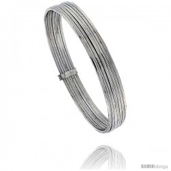 Sterling Silver Flat 7 Band Stackable slip on Semanario Bangle 5/16 in wide, 7 in