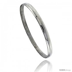 Sterling Silver Half Round Domed Slip-On Stackable Bangle 3/16 in wide, 8 in
