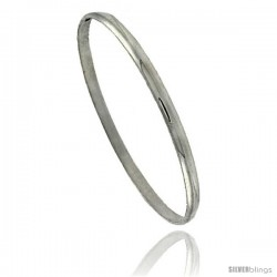 Sterling Silver Half Round Domed Slip-On Stackable Bangle 5/32 in wide, 8 in