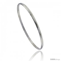 Sterling Silver Half Round Domed Slip-On Stackable Bangle 1/8 in wide, 8 in