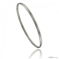 Sterling Silver Half Round Domed Slip-On Stackable Bangle 1/16 in wide, 8 in