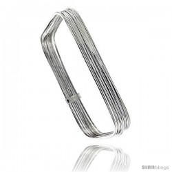 Sterling Silver Square Shape Flat 7 Band Stackable slip on Semanario Bangle 5/16 in wide, 8 in