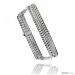 Sterling Silver Square Shape Flat 7 Band Stackable slip on Semanario Bangle 5/16 in wide, Baby 6 in