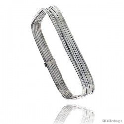 Sterling Silver Square Shape Flat 7 Band Stackable slip on Semanario Bangle 5/16 in wide, 7 1/4 in